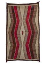 Antique Navajo Area Rug with strong graphic zig zags in brown, grey, red and natural undyed wool