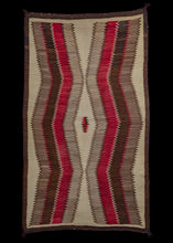 Antique Navajo Scatter Rug with undulating waves from top to bottom of red, grey, brown and black