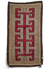 Antique Navajo wool rug with bold red graphic