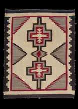 Antique Navajo Scatter rug with bold double diamond design in black, red and undyed wool
