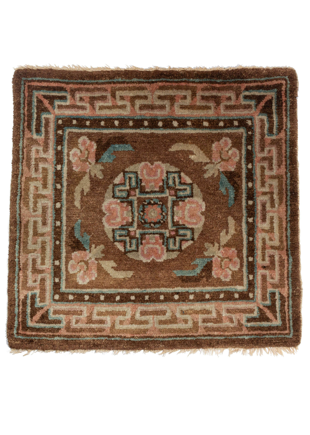 Antique Tibetan Meditation Mat with a geometric modern border and florals and bats