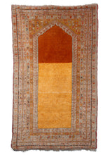Antique Turkish Oushak Prayer handwoven rug with grey, gold and orange tones