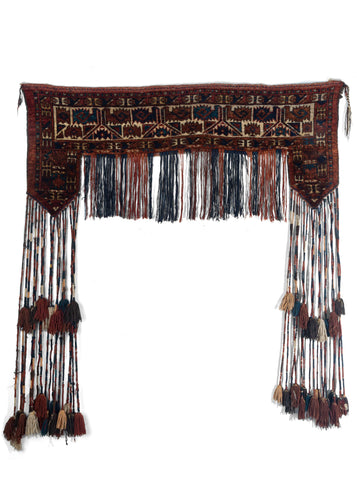 Antique Turkmen Trapping with long wrapped fringe and double layer of tassels