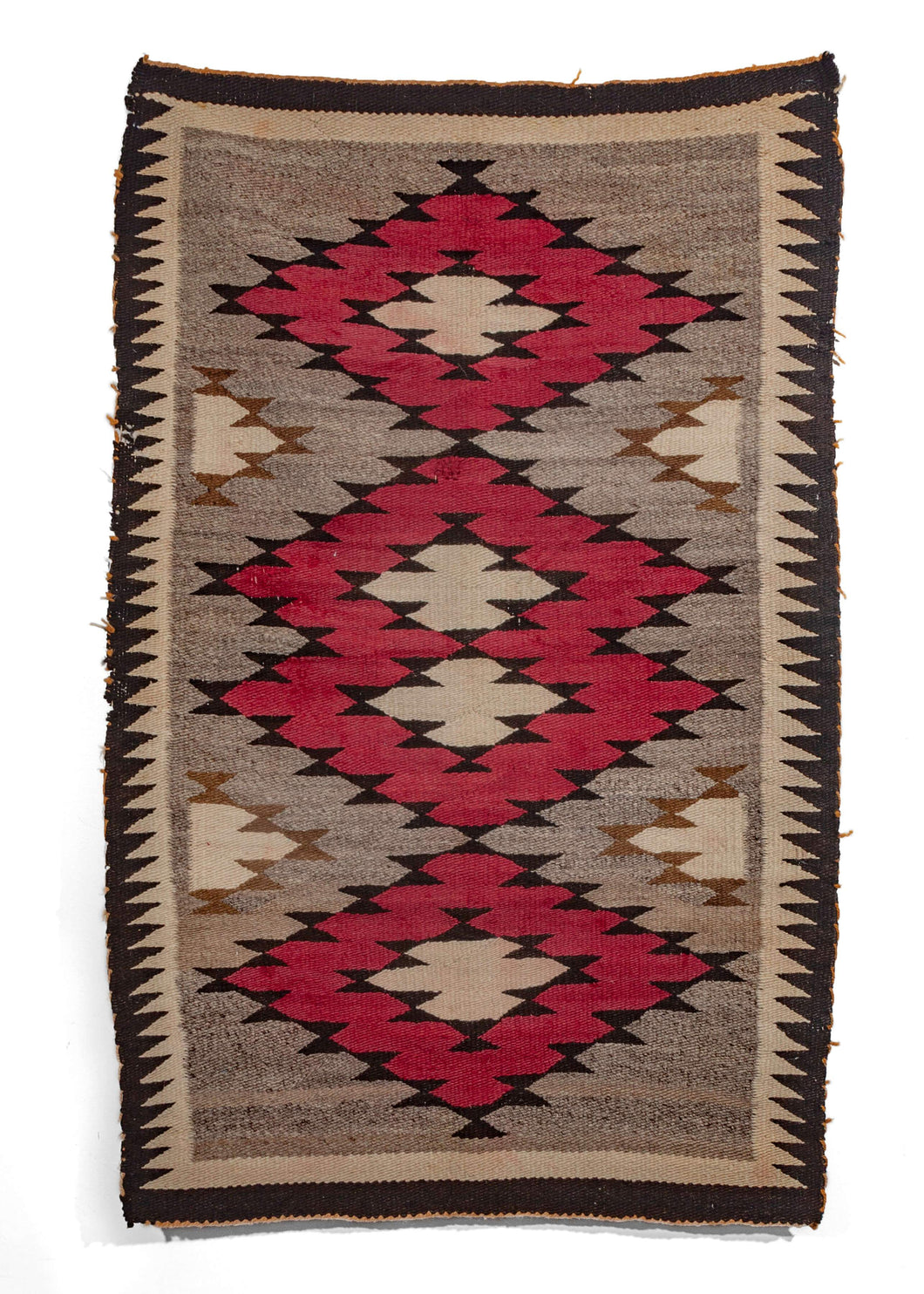Antique wool Navajo Rug with bold diamond design in natural wool, red, black and gold