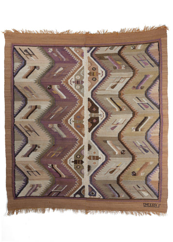 Signed Saturnino Oncebay Peruvian Weaver's Kilm with butterflies and caterpillars in natural dye zig zag design