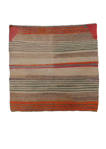 Small vintage Navajo rug from SW USA. Composed of striped horizontal design in bright colors. In fair condition, with some cosmetic issues with color run where the dyes have bled.