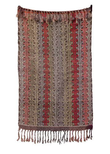 Vintage Turkish rug handwoven with a mix of wool and goat hair, with a multicolor vertical striped design. In very good condition, signs of wear consistent with age.