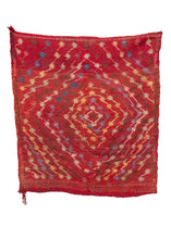 Vintage Turkish sofreh (square rug traditionally used for dining) with a red field and a diamond-shaped design in a variety of colors. In excellent condition, signs of wear consistent with age.
