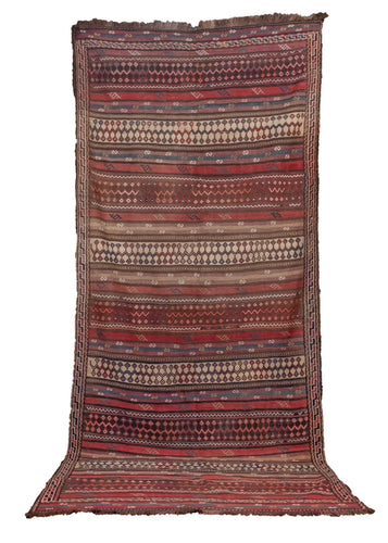 Vintage Northwest kilim handwoven in NW Iran. Featuring a dynamic striped design with embroidered symbols and shapes in a multitude of colors. In very good condition, signs of wear consistent with age.