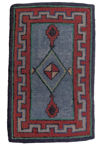 Antique Geometric Hook Rug - 1'10 x 2'10