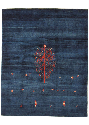 Contemporary Modern Minimal BLUE handwoven Lori Gabbeh are rug with red tree of life and small flowers