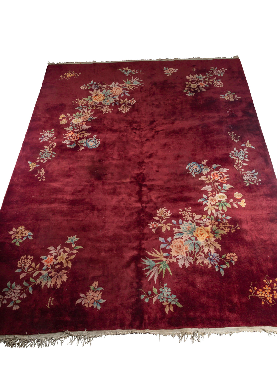 Burgundy Chinese Deco rug with colorful flowers