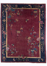 Chinese Art Deco Rug with deep blue border and maroon field