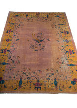 Chinese Deco rug with peachy lavender and golden border