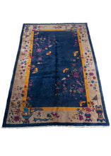 Antique Chinese Deco Rug with Willow Trees and butterflies