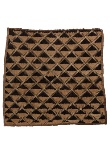 Congolese Kuba Cloth with velvet pile diamonds in black and neutral raffia