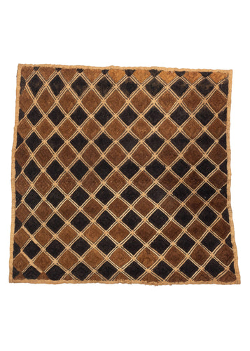 Vintage Congolese Kuba Cloth with black and brown velvet pile diamonds