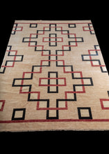 Contemporary Afghani Carpet with black and red architectural lines