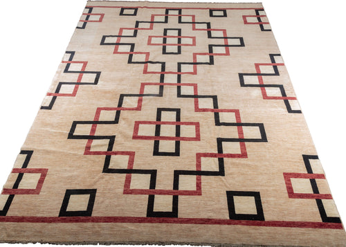 Modern Afghani carpet with red and black lines creating a elegant architectural design