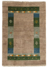 Contemporary Modern South Persian Lori Gabbeh rug with undyed hand knotted wool and a green blue playful border design