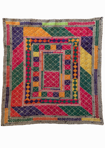 Vintage Hand Embroidered Afghani Hazara Prayer Cloth with bright rainbow colors and repetitive diamonds