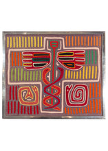 Framed Kuna Mola Cloth - applique'd cotton in bright colors with snakes, wings and bright lines of rainbow color