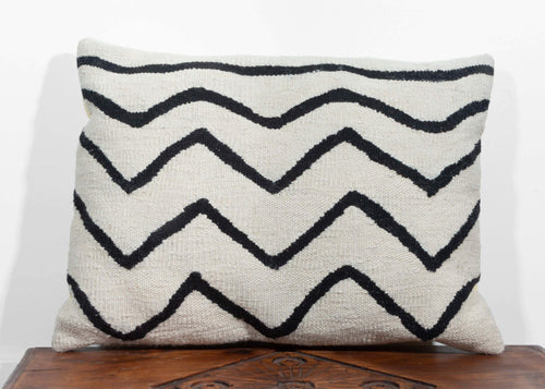 Christian Rathbone designed Turkish Handwoven Wool Pillow with modern black and white squiggle design