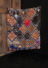 moroccan boucherouite rug with diamond pattern in multicolors