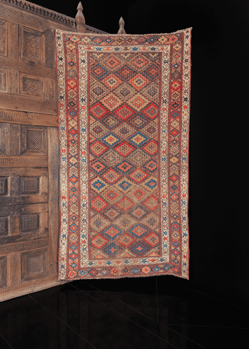 multicolor kurdish rug with diamond design