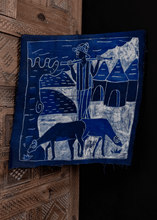 west african batik in blue and white with pictorial scene of shepherd with grazing rams, in perfect condition