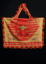 Syrian horse-trapping woven in red and gold metallic thread, in fair condition, with some wear throughout