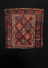 Small Kurdish Jaff rug from NW Iran featuring classic Jaff tribe diamond design in bright reds and blues with ivory details