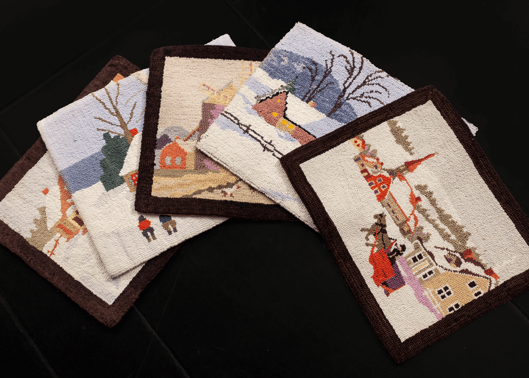 Vintage hook rugs from Quebec. Set of 5 (five).  This charming set of small hook rugs features four quaint winter scenes and a spring/summer scene, in a variety of settings with various characters. The scenes are all framed by a rich chocolate brown border.   In very good condition, signs of wear consistent with age. Hooked materials on a burlap base, with no pile.