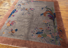 Chinese Deco Rug with Rooster Design - 8' x 9'8