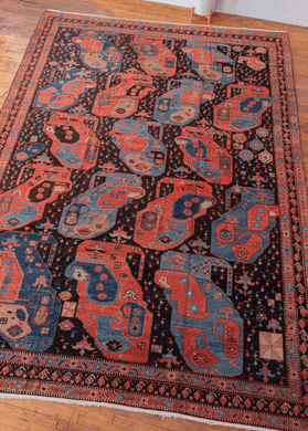 Vintage Azeri natural dyed rug with mother and child large scale design in red blue and tan. in excellent condition