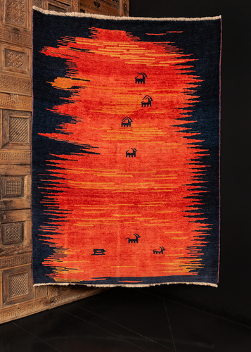 Bright Contemporary Gabbeh - 4'5 x 6'2