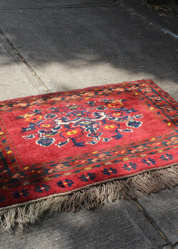 Vintage Turkmen wall hanging with unilateral fringe. Bold red ground, deep blues and soft browns and yellows. Central medallion of stylized flowers.