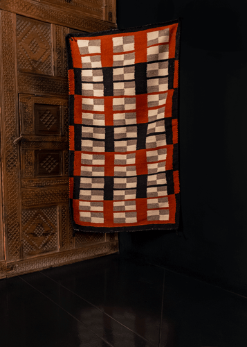 Navajo Flatwoven rug with box geometric design in rust/russet, black, grey/gray, cream, ivory, mid century