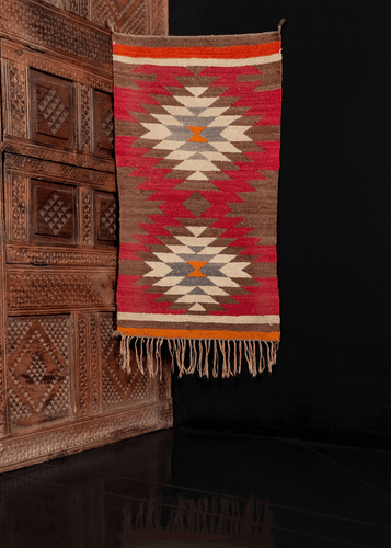 Mid century Navajo Flatwoven rug rug, southwest, in red, taupe, orange, grey/gray