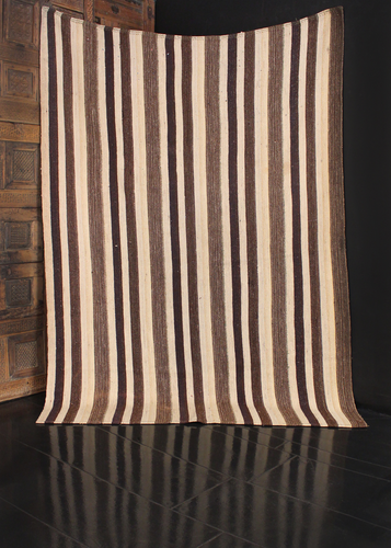 Persian kilim featuring marled stripes of brown, ivory and blue. Flecks of multicolored wool.