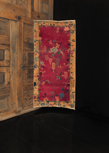 1930s chinese deco rug with purple field and floral design, gold border. in good condition
