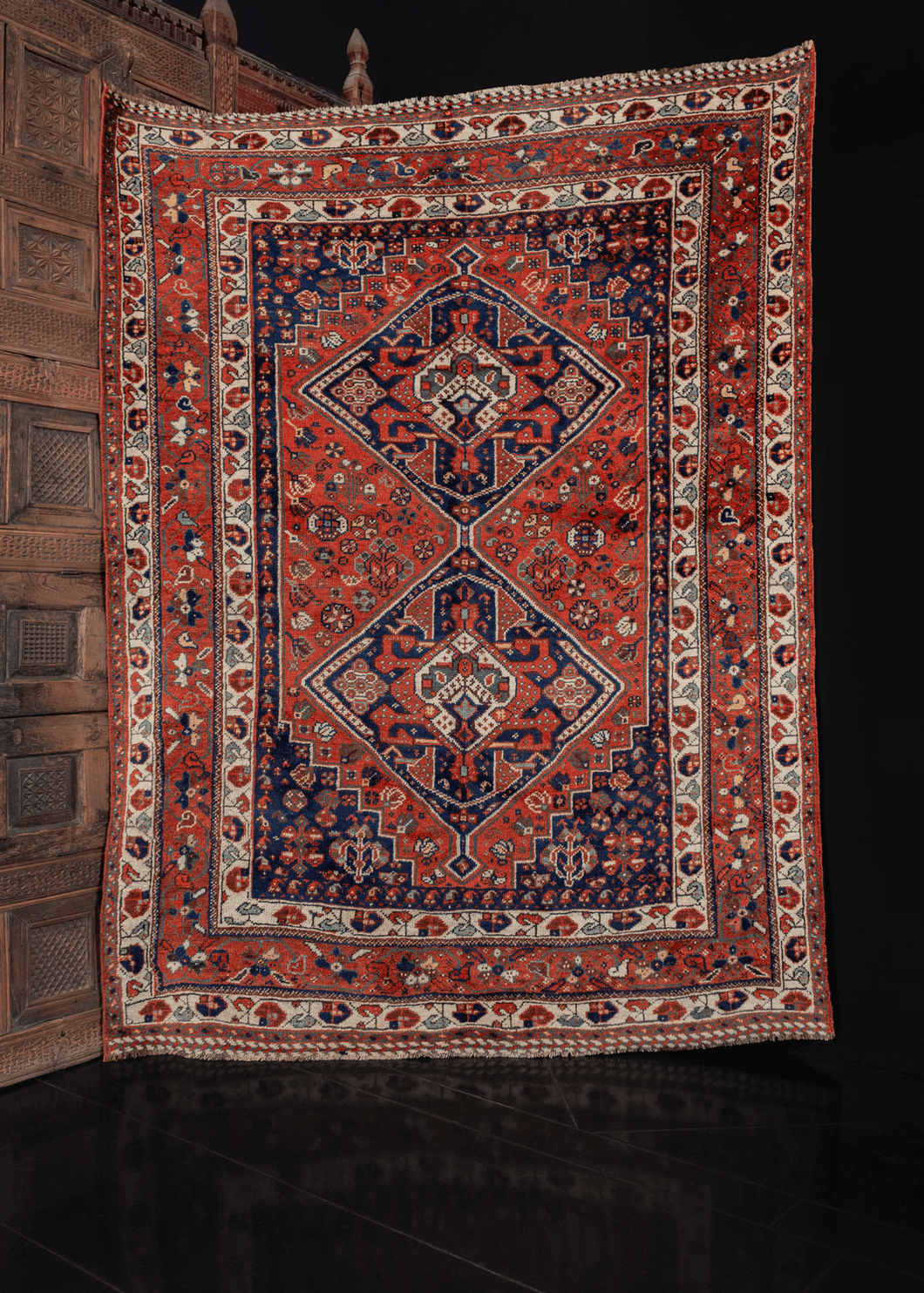 Khamseh rug with geometric pattern in blue and orange