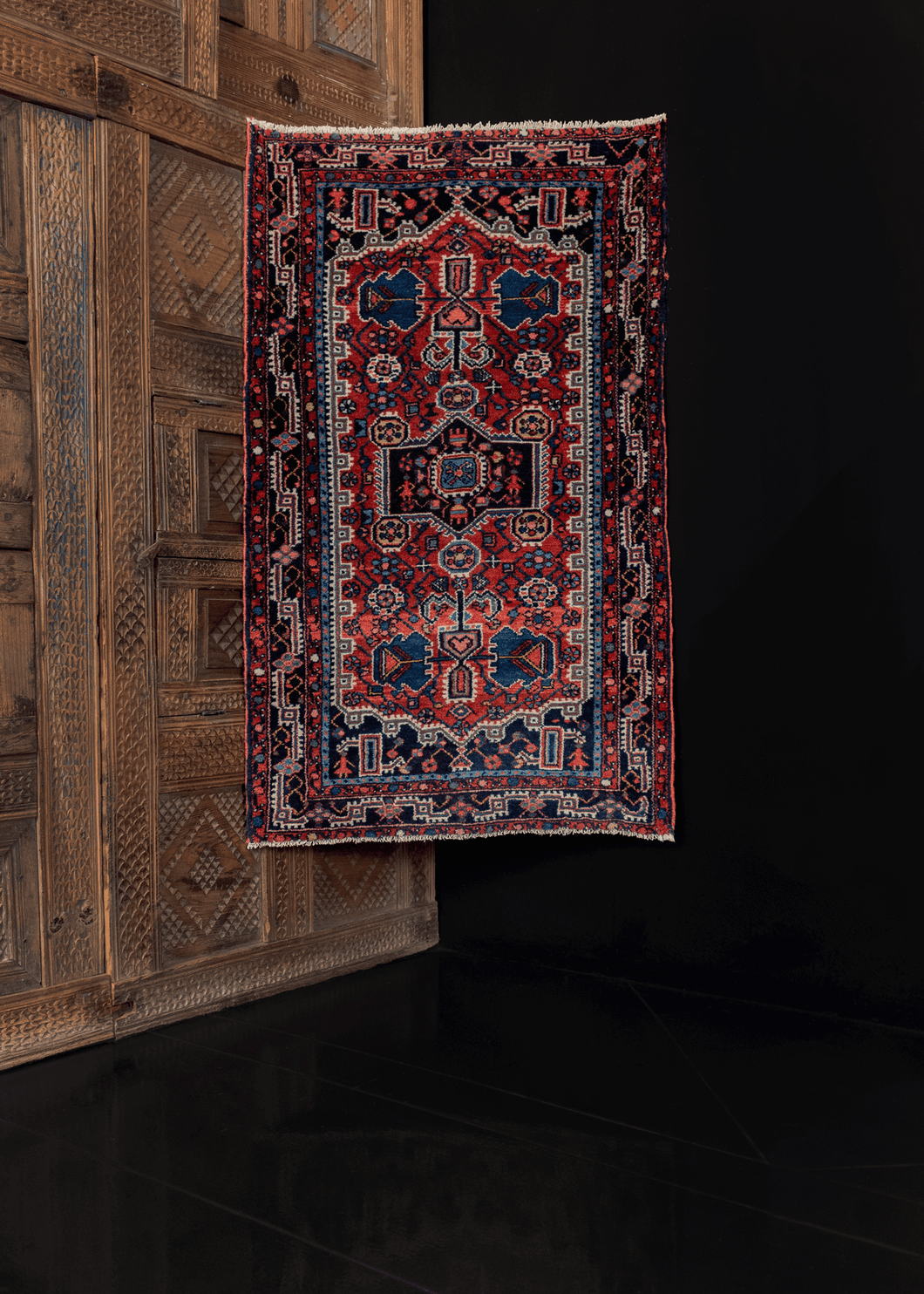 Hamadan rug with thick low pile and jewel tones, with geometric design