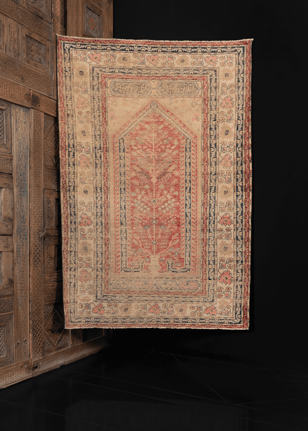 Mid century silk Kayseri rug from Turkey with ornate prayer niche and curvilinear floral border