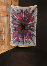 Mid Century Swedish shag rug with dynamic explosion design in purple, blue, pink and grey.