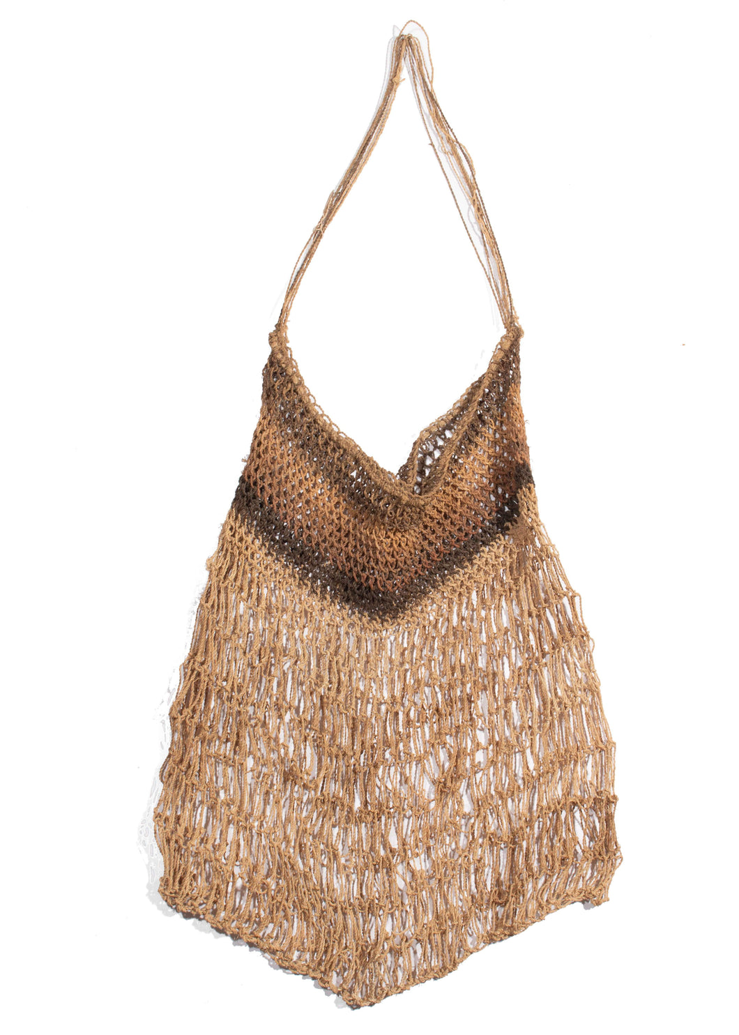 Sedge Grass Dilly Bag knotted in muted brown tones