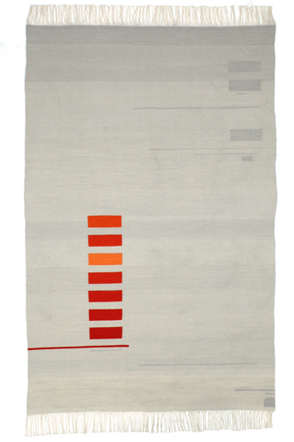 Andrew Boos, Contemporary Kilim, Fiber Art, Textile Art. Off white field with a column of small horizontal rectangles in shades of bright orange are in the lower left hand corner