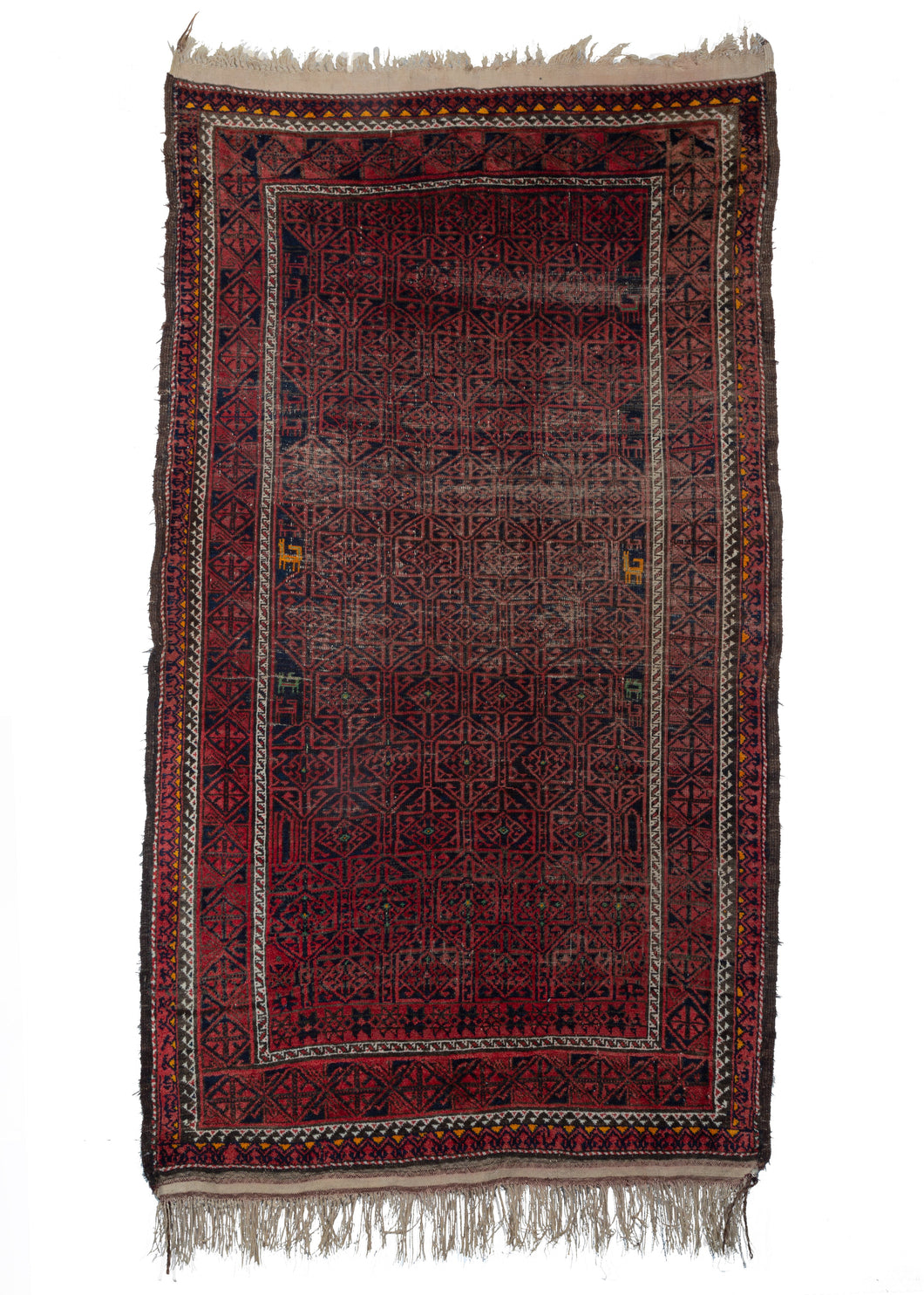 Mid Century Afghani Baluch Area Rug with bright red design on black field and little animals in orange and green