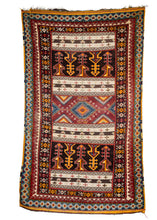Mid Century Moroccan Ouaouz Area Rug with both sumac weave and soft shaggy pile