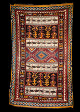 Mid Century Moroccan Ouaouz Area Rug with both soft shag and sumac weaving